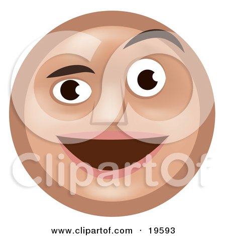 Clipart Illustration of a Pleasantly Surprised Tan Smiley Face Man Smiling And Raising One Eyebrow by AtStockIllustration