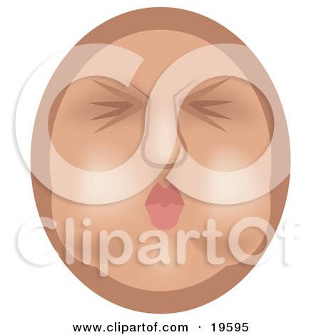 Clipart Illustration of an Emoticon Face Puckering Its Lips And Holding Its Breath In Its Cheeks by AtStockIllustration