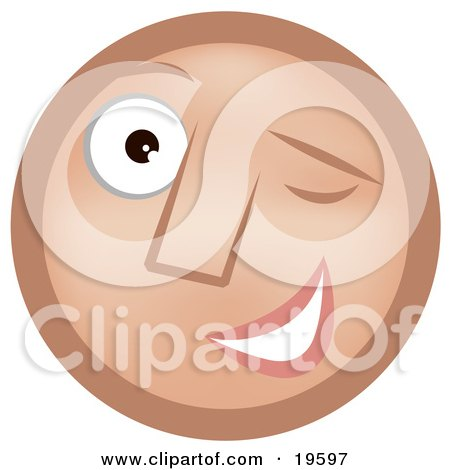 Clipart Illustration of a Flirty Winking Tan Smiley Face by AtStockIllustration