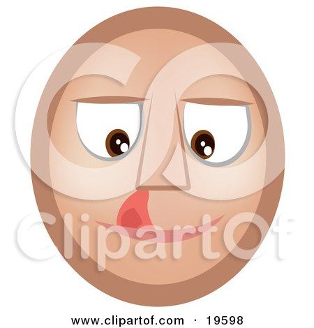 Clipart Illustration of a Craving Emoticon Face Licking Its Lips by AtStockIllustration