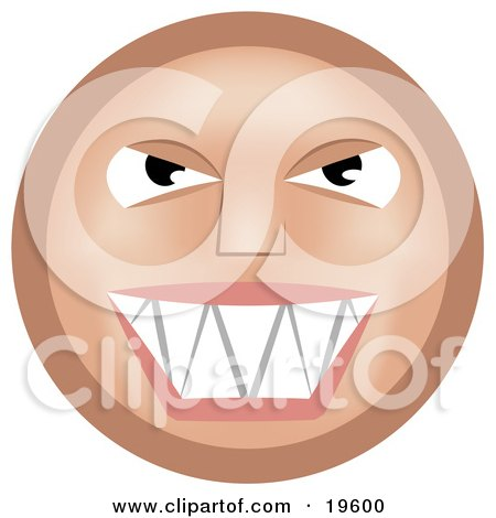 Clipart Illustration of a Mischievous Tan Smiley Face Grinning While Thinking Evil Thoughts by AtStockIllustration