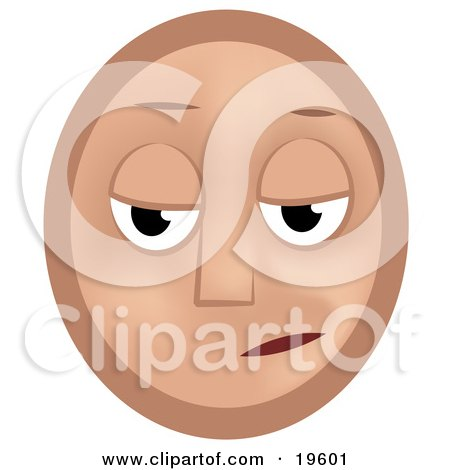 Clipart Illustration of a Gloomy Emoticon Face Pouting by AtStockIllustration