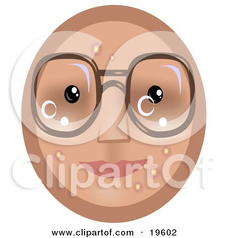 Clipart Illustration of a Four Eyed Emoticon Face Wearing Glasses