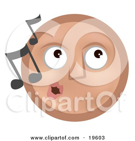 Clipart Illustration of a Melodious Tan Smiley Face Whistling Tunes by AtStockIllustration