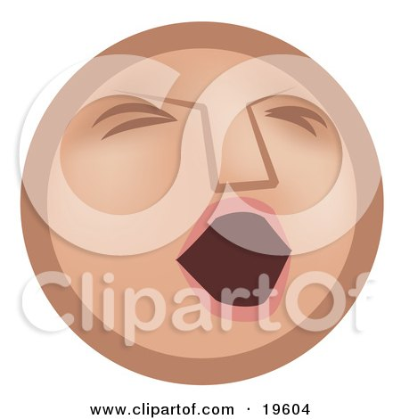 Clipart Illustration of a Tired Tan Smiley Face Opening Its Mouth To Yawn by AtStockIllustration