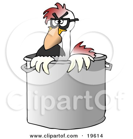 Clipart Illustration of a Disguised Chicken Wearing A Hairy Nose And Glasses, Peeking Out Of A Stock Pot In A Kitchen by djart