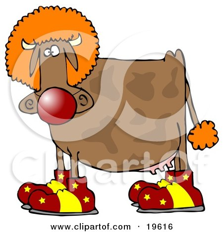 Clipart Illustration of a Goofy Brown Cow Dressed As A Clown, Wearing Big Red And Yellow Shoes, A Red Nose And An Orange Wig by djart