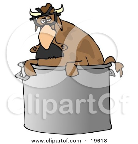Clipart Illustration of a Disguised Brown Cow Wearing A Hairy Nose And Glasses, Peeking Out Of A Stock Pot In A Kitchen by djart