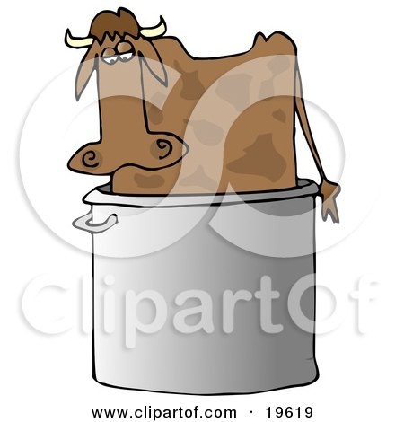 Clipart Illustration of a Confused Brown Cow Standing In A Giant Stock Pot by djart