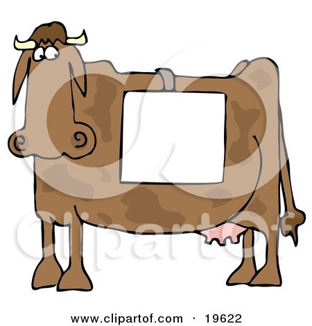 Clipart Illustration of a Big Brown Cow Standing In Profile, Wearing A Blank White Sign Over Its Back by djart