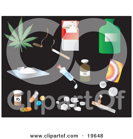 Clipart Illustration of Drug Picture Icons on a Black Background by Rasmussen Images