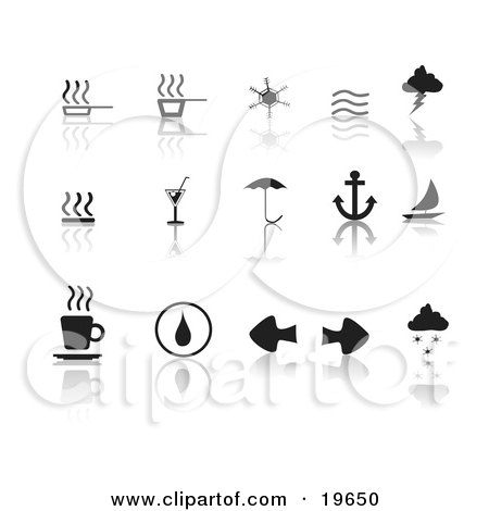Clipart Illustration of a Collection Of Black Misc Icons On A Reflective White Background by Rasmussen Images