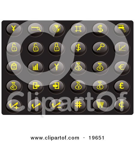 Clipart Illustration of a Collection Of Yellow Finance Icons On A Black Background by Rasmussen Images