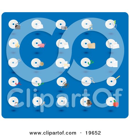 Clipart Illustration of a Collection of CD and Disc Icons on a Blue Background by Rasmussen Images