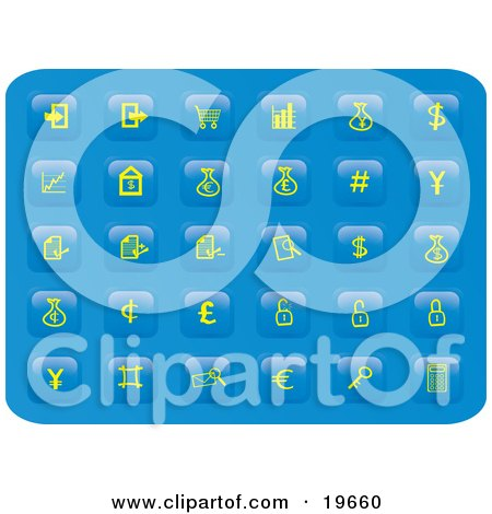 Clipart Illustration of a Collection of Yellow Finance Button Icons on a Blue Background by Rasmussen Images