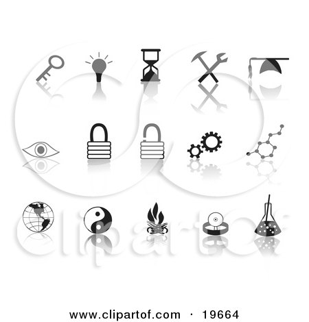 Clipart Illustration of a Collection Of Black Random Icons On A Reflective White Background by Rasmussen Images