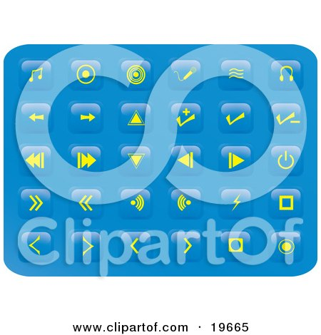 Clipart Illustration of a Collection of Yellow Media Button Icons on a Blue Background by Rasmussen Images