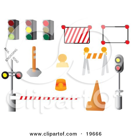 Clipart Illustration of a Collection of Road Signs on a White Background by Rasmussen Images