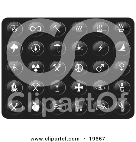 Clipart Illustration of a Collection Of White Misc Button Icons On A Black Background by Rasmussen Images