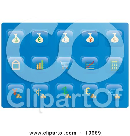 Clipart Illustration of a Collection of Financial Button Icons on a Blue Background by Rasmussen Images