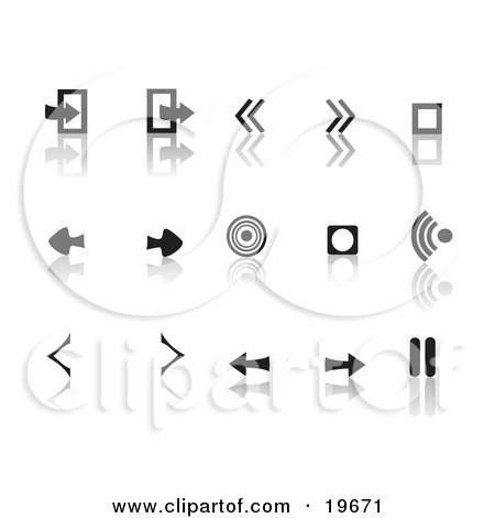 Clipart Illustration of a Collection Of Black Random Media Icons On A Reflective White Background by Rasmussen Images
