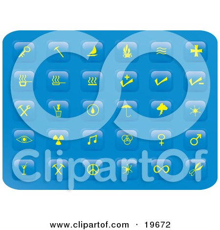 Clipart Illustration of a Collection of Misc Yellow Button Icons on a Blue Background by Rasmussen Images