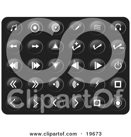 Clipart Illustration of a Collection Of White Media Button Icons On A Black Background by Rasmussen Images