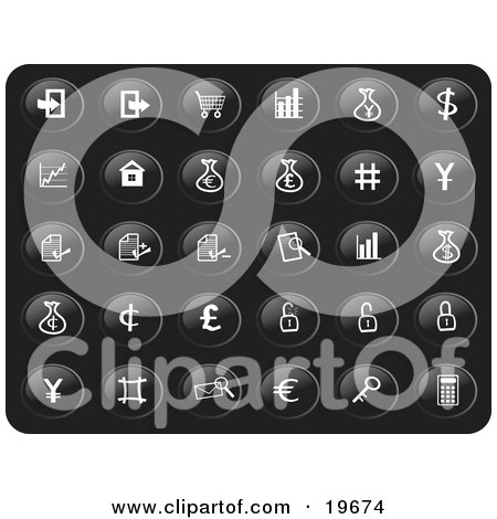 Clipart Illustration of a Collection Of White Financial Icons On A Black Background by Rasmussen Images