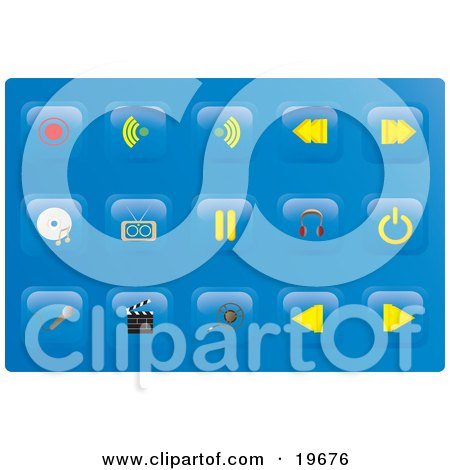 Clipart Illustration of a Collection of Media Button Icons on a Blue Background by Rasmussen Images