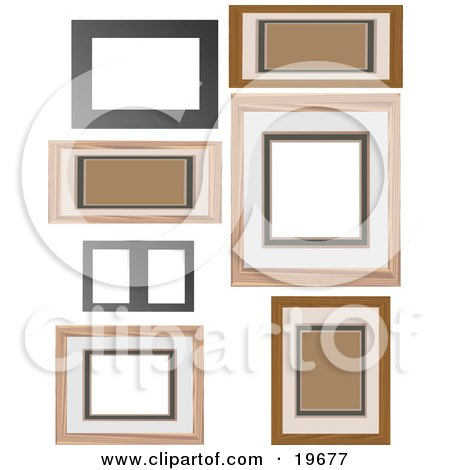 Clipart Illustration of a Collection of Wooden Picture Frames on a White Background by Rasmussen Images