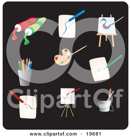 Clipart Illustration of Art Picture Icons on a Black Background by Rasmussen Images