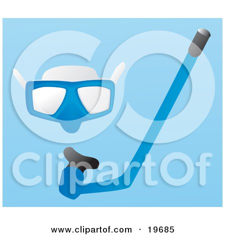 Blue Snorkel Mask And Snorkel Tube on a Blue Background Posters, Art Prints