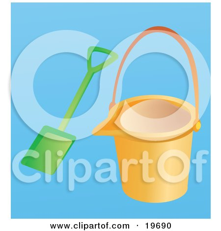 Clipart Illustration of an Orange Beach Bucket And Shovel For Building A Sand Castle on a Blue Background by Rasmussen Images