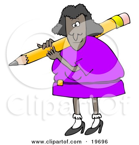 Clipart Illustration of a Black Lady in a Purple Dress, Carrying a Giant Yellow Pencil Over Her Shoulder by djart