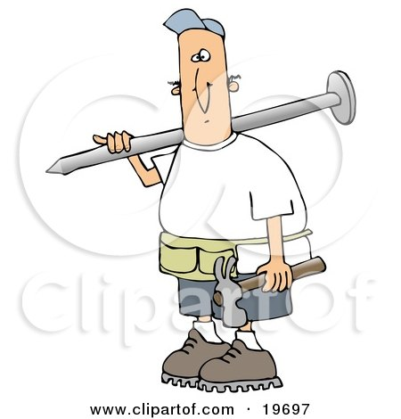 Clipart Illustration of a White Construction Worker Guy Carrying a Giant Nail Over His Shoulder and a Hammer in His Hand by Dennis Cox