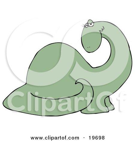 Clipart Illustration of a Flirty Green Female Dinosaur Fluttering Her Eyelashes by djart