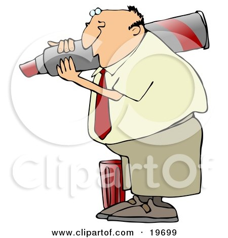Clipart Illustration of a White Businessman Carrying A Giant Red Marker On His Shoulder, The Cap At His Feet by djart