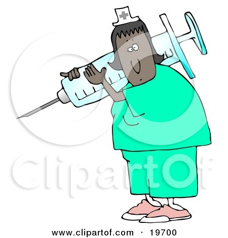 Clipart Illustration of a Black Female Nurse In Scrubs And A Hat, Carrying A Giant Needle And Syringe Over Her Shoulder While Preparing A Vaccine For A Hospital Patient by djart