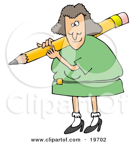 Clipart Illustration of a White Female Teacher In A Green Dress, Carrying A Giant Yellow Pencil On Her Shoulder, Grading Student Papers by djart