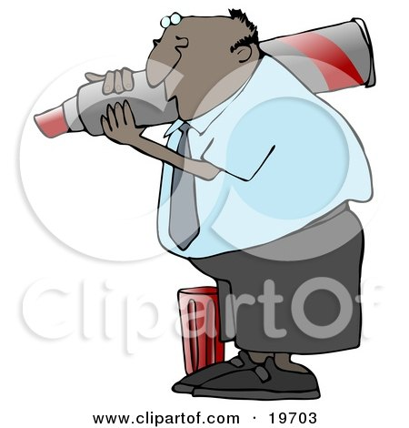 Clipart Illustration of a Black Business Guy Carrying A Big Red Marker On His Shoulder And Writing by djart