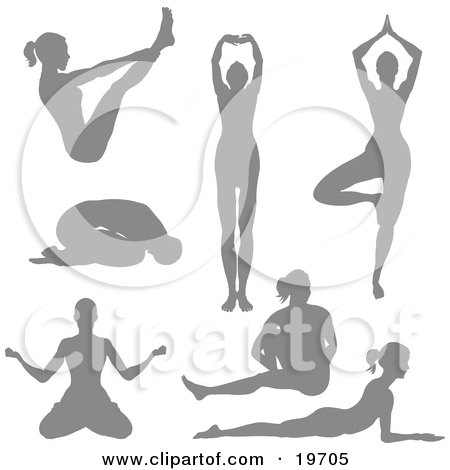 Clipart Illustration of a Collection Of Silhouetted Women Doing Yoga Poses And Stretches by AtStockIllustration