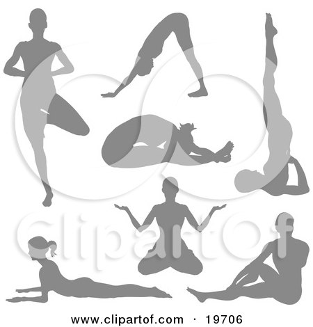 Clipart Illustration of a Collection Of Yoga Women Silhouetted in Yoga Poses by AtStockIllustration
