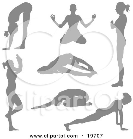 Royalty-free health clipart picture of a collection of women silhouetted