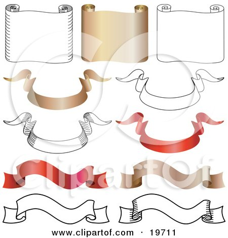 Clipart Illustration of a Collection Of Horizontal Gold And White Parchments, And Gold, Red And White Banners by AtStockIllustration