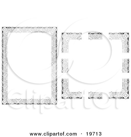 Clipart Illustration of a Stationery Border of Flowers and Vines by AtStockIllustration
