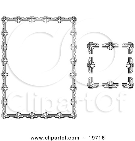 Clipart Illustration of a Stationery Border With Ornate Designs by AtStockIllustration