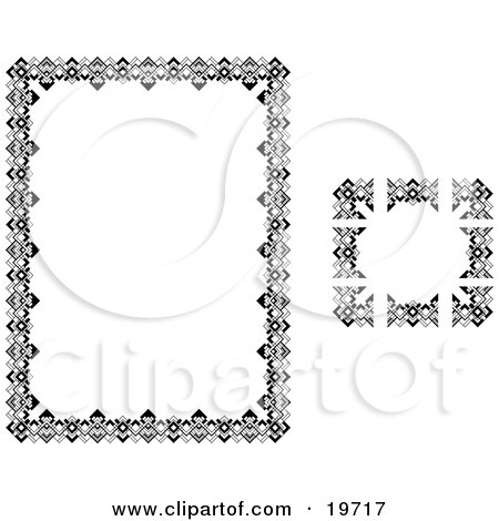 Clipart Illustration of a Stationery Border of Zigzags and Triangles by AtStockIllustration