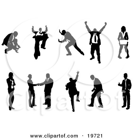 Clipart Illustration of a Collection Of Business Concepts Showing Silhouetted Businesspeople In Different Poses by AtStockIllustration