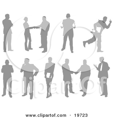 Clipart Illustration of a Collection Of Business People Silhouetted In Different Poses by AtStockIllustration