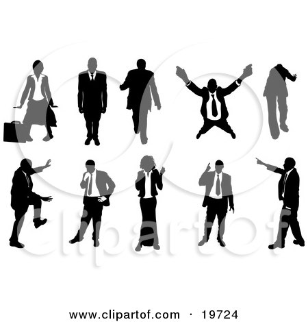 Clipart Illustration of a Collection Of Businesspeople In Silhouette, In Different Poses by AtStockIllustration